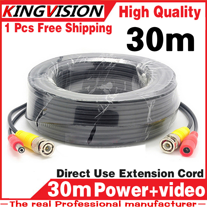 biggest Sale! 30m Video+Power Cables Security Camera Wires for CCTV DVR with BNC DC Connectors Extension Surveillance System 30m video