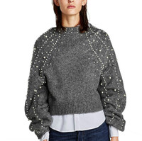 Pearl Beads Lanterns Loose Sleeves Wool Sweater Jumpers Vintage Gray Short Warm Beads Sweater Fall Pullovers