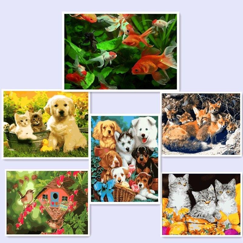 Estilo moderno Retrato Na Parede Pintura Acrílica Pintura DIY Por Números Colorir Por Números cão gato peixe casa BM47