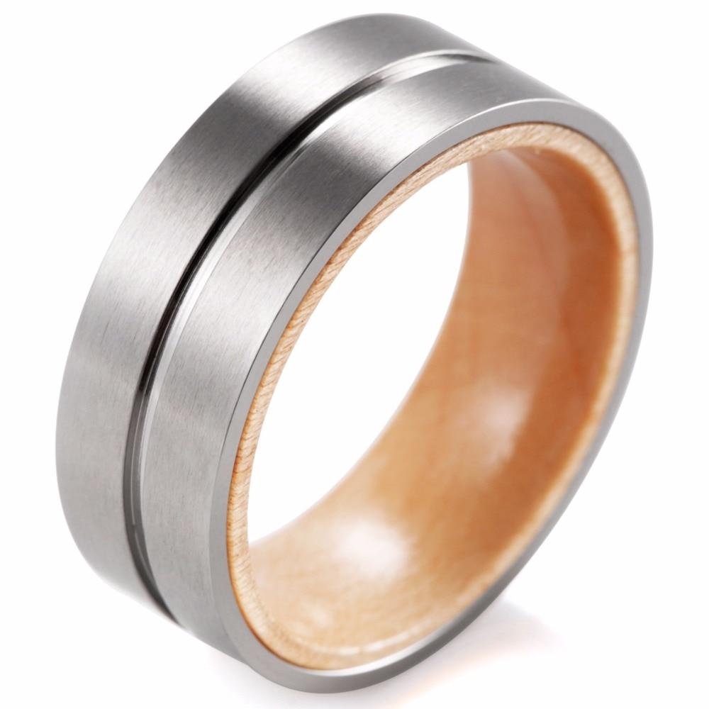 Shardon Titanium And Wood Ring With Groove Matte Finishing Mens Titanium Wedding  Band Inner Woodfort