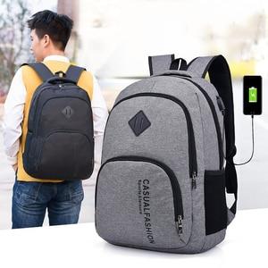 Image 5 - 15.6 인치 안티 절도 노트북 가방 USB 충전 남성 캔버스 배낭 여행 학교 가방 남자 배낭 틴 에이저 SchoolBag Mochila