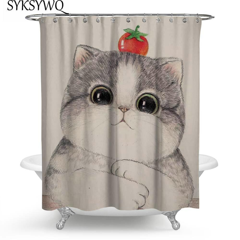 3D cat Animal Design Shower Curtain Bathroom Waterproof Fabric /& 12 hooks 71*71/""