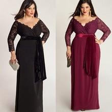 Frauen Mode Plus Size Sexy Long Sleeve Spitze Tiefe V-ansatz Lange Maxi Kleid