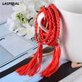 LASPERAL Apparel PU Leather Belts Women Handmade Weave Soft Waistband Fashion Solid Tassel Lady Girl Decoration Thin Strap Belts