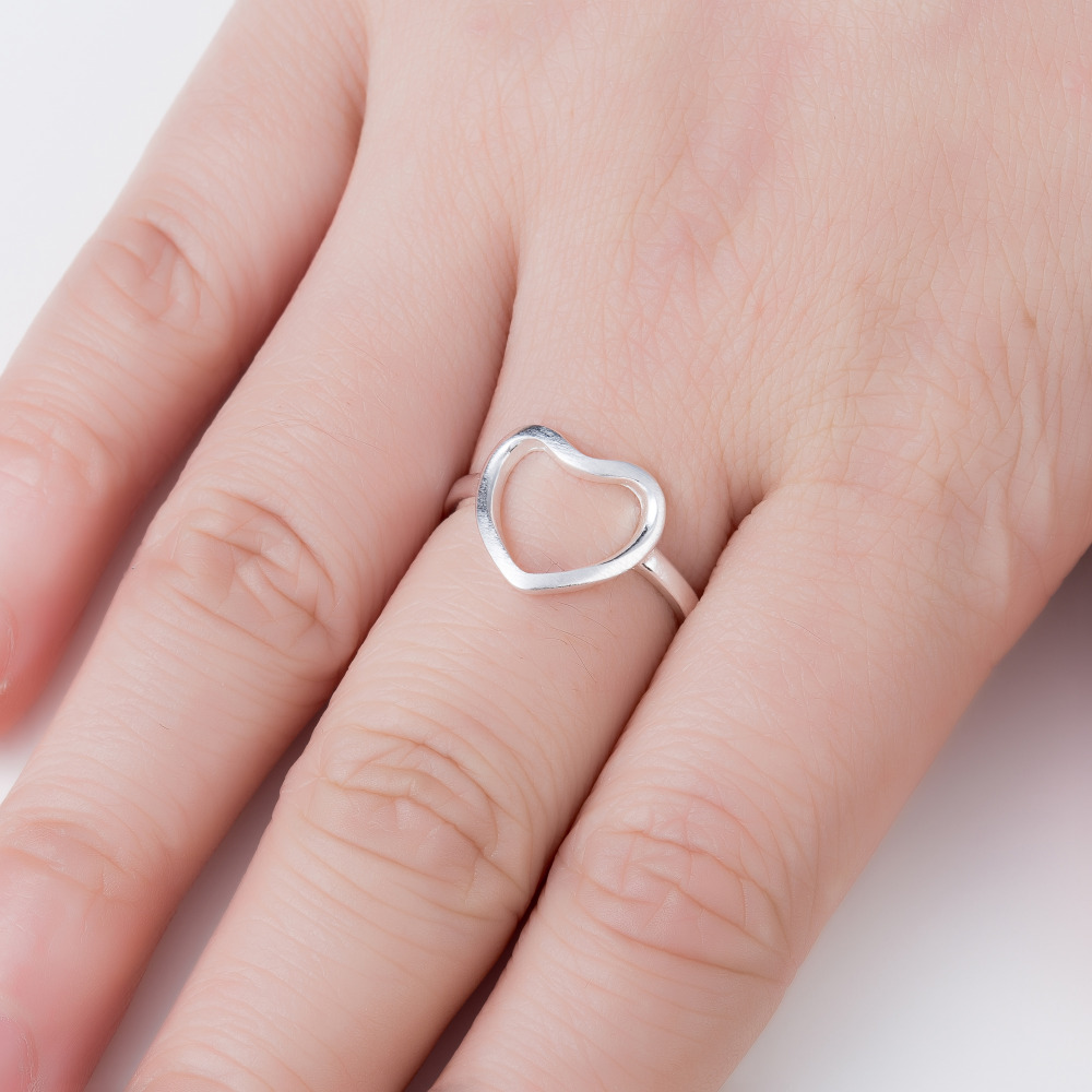 ⊰Hfarich New Silver Color Jewelry Open Heart Rings for Women ...