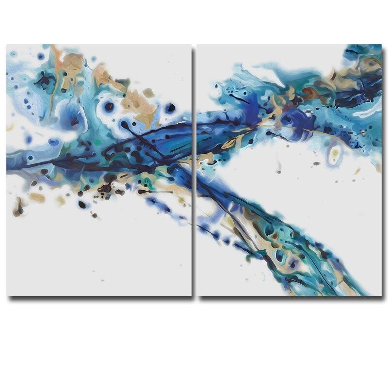 Blau rhythmus Malerei, moderne Abstrakte Ölgemälde Auf Leinwand ...