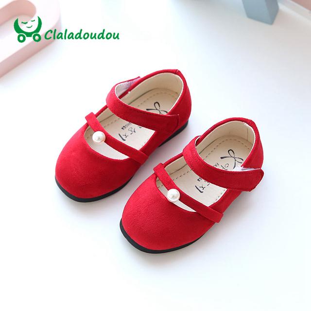 Claladoudou 2017 0-2a primavera princesa do bebê shoes vermelho pérola bonito meninas da criança shoes preto verde aniversário shoes sapato macio infantil