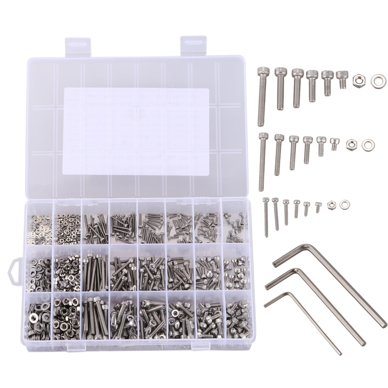 1080pcs Stainless Steel Screw And Nut Hex Wrenches Flat Washer Assortment Set Kit With Storage Box1080pcs Stainless Steel Screw And Nut Hex Wrenches Flat Washer Assortment Set Kit With Storage Box