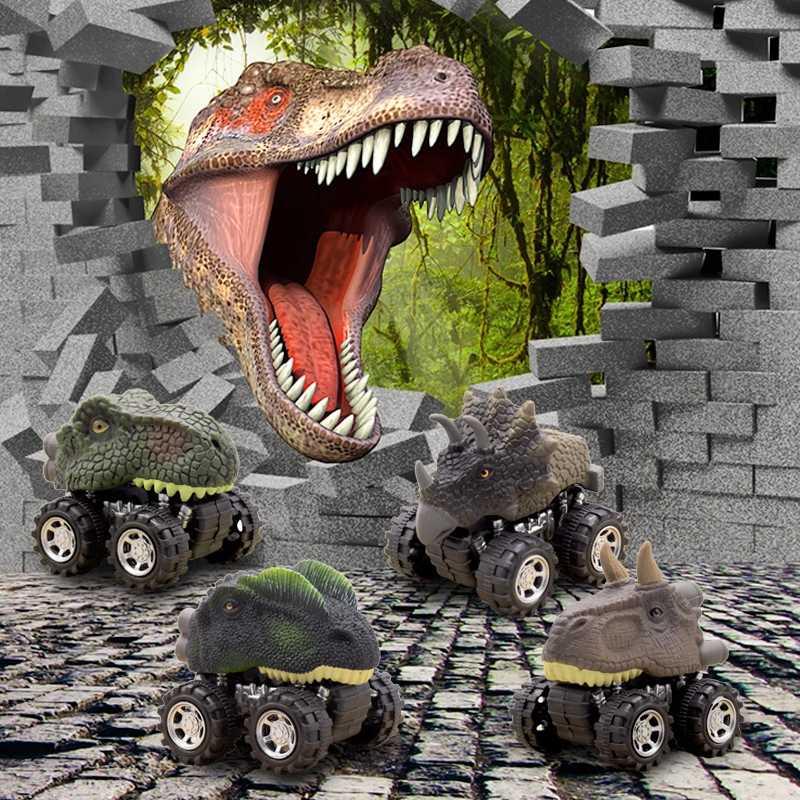 Jurassique monde dinosaure modèle retirer voiture Mini voiture véhicule jouet éducatif enfants jouets drôles dinosaures jouet voitures cadeaux d'anniversaire
