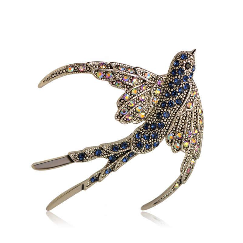 Luxury Warna Silver Walet Burung Antik Kristal Biru Bros Gugatan Lapel Pins Sweater Syal Liontin Hewan Wanita Anak Bros