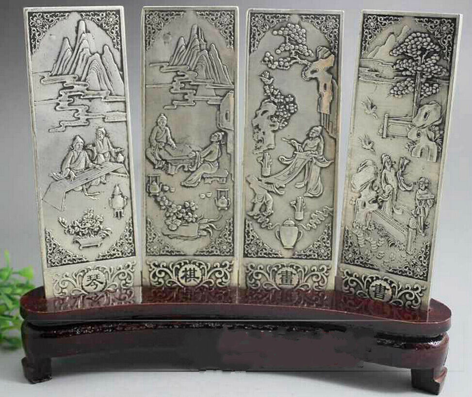 Wonderful Old Tibet Silver 4 Screen With Poetry And Painting Statue On Wood Stand Free Shipping