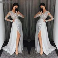 Sexy Side Slit Long Sleeves V Neck Lace Applique Bridesmaid Gown Aqua Blue Chiffon Lace Wedding Party Dresses Prom Bridesmaid