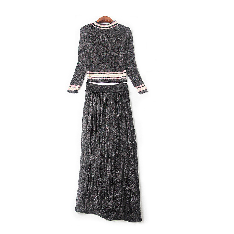 c5ac4faccb Women Casual Two Piece Skirt Suits 2017 Autumn New Arrival Striped Long  Sleeve Sparkle Pullovers + Pleated Midi Skirts Set WYG