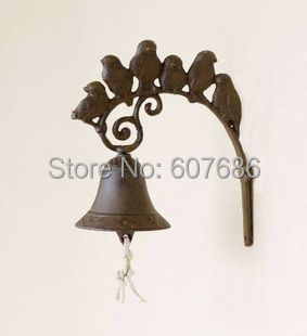 2 Pieces Cast Iron 6 Birds Welcome Dinner Bell Wall Mounted Hanging Garden Door Gate Rustic Brown Bell Porch Patio Free Shipping
