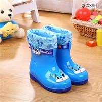 Qgxsshi niños lluvia Botas historieta Linda Niños Niñas bebé antideslizantes Zapatos, sobre Zapatos agua Zapatos para niños además de terciopelo goma Zapatos