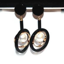 2017 Big Black Statement Long Earrings For Women Bijoux Fashion Simulated Pearl Jewelry Fine Gift