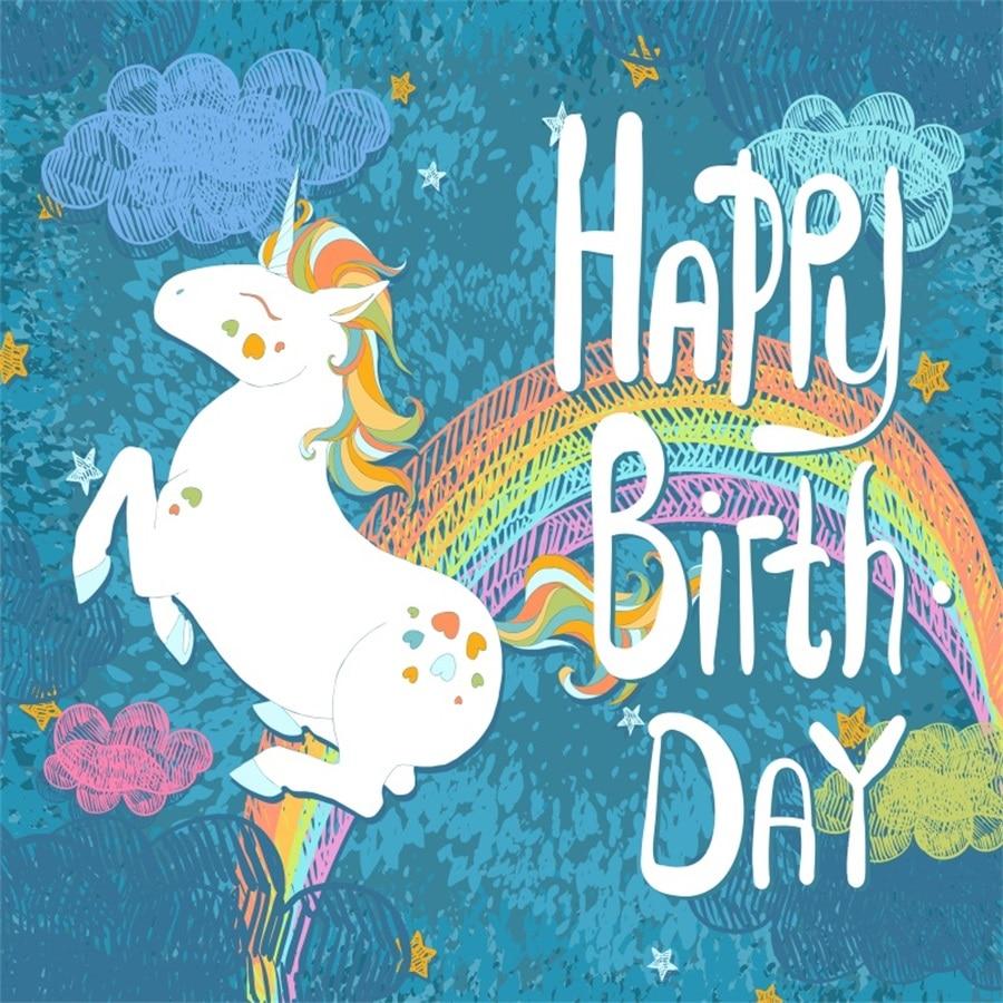 Laeacco Birthday Unicorn Party Baby Rainbow Cartoon Photo Backgrounds Customized Digital Photography Backdrops For Photo Studio laeacco unicorn party birthday flower stripes baby photography backgrounds customized photographic backdrops for photo studio