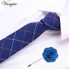 6cm Business Groom Wedding Floral&Plaid Ties Cotton Men Print Skinny Neck Gravatas Slim Suits Necktie Tie&brooches set