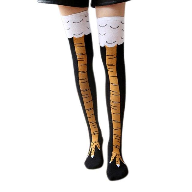 e8f97cc8262 Fashion Women Chicken Foot Claw Socks Leg High Knee Length Socks Stockings  AIC88