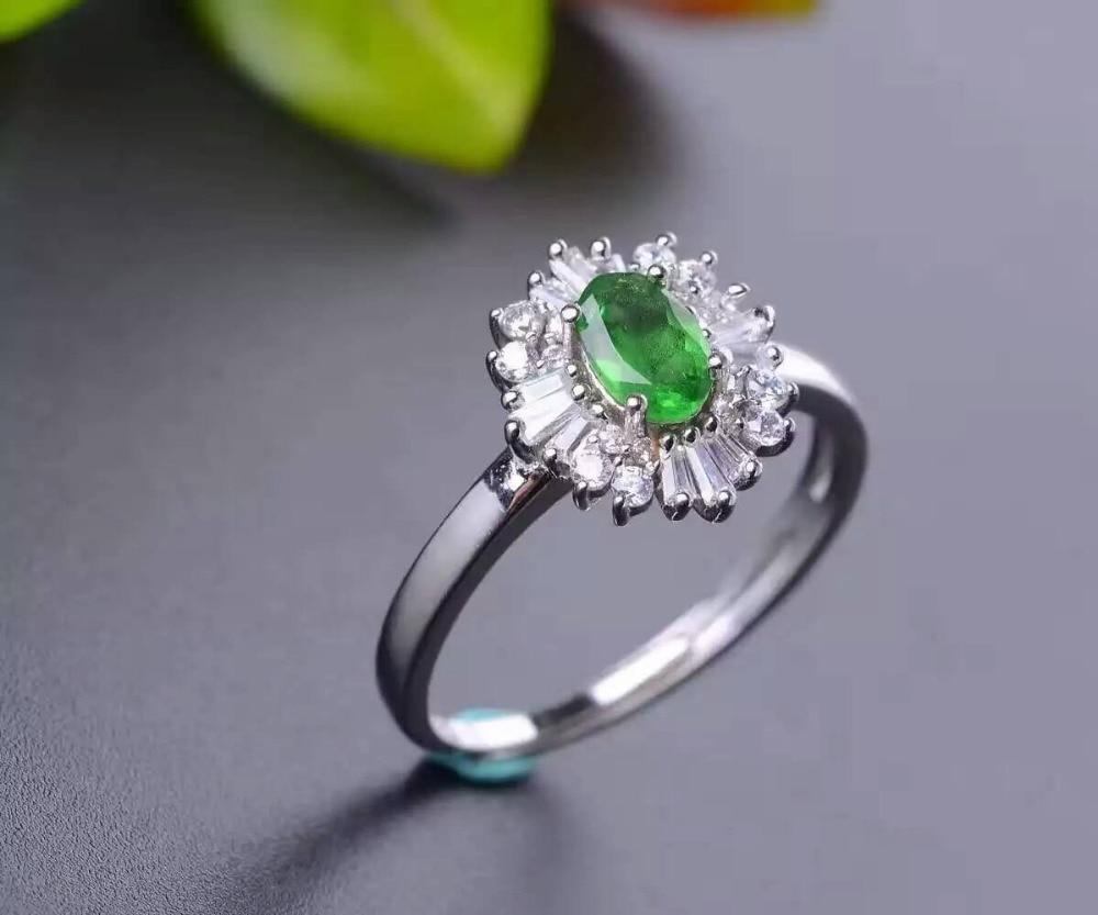 Здесь продается  Natural Tsavorite Ring Natural green garnet ring 925 sterling silver trendy big Sunflower women