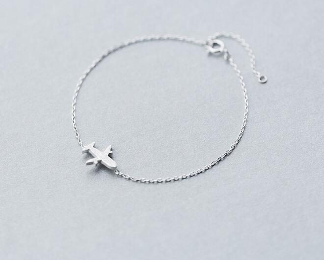 wholeslae Women's Men's 100% Real. 925 Sterling Silver plane bracelet Brushed airplane Aircraft Plane chain bracelet Charms