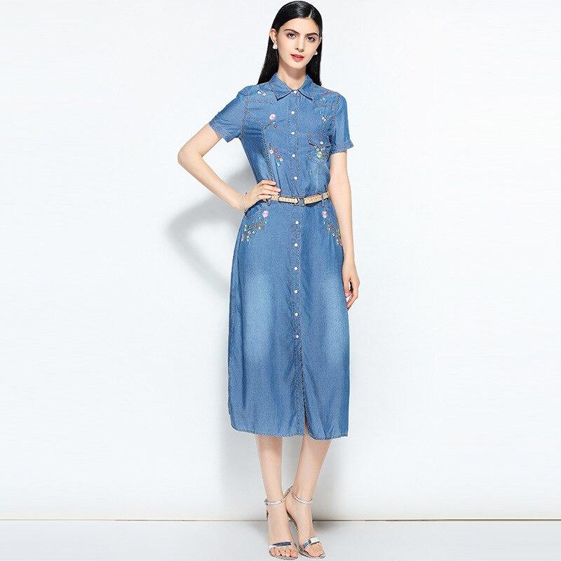 Kadın Giyim'ten Elbiseler'de Yeni yaz rahat Nakış elbise kadın zarif peter pan yaka kısa kollu denim elbiseler vestidos de verano kadın kıyafetleri 2019'da  Grup 3