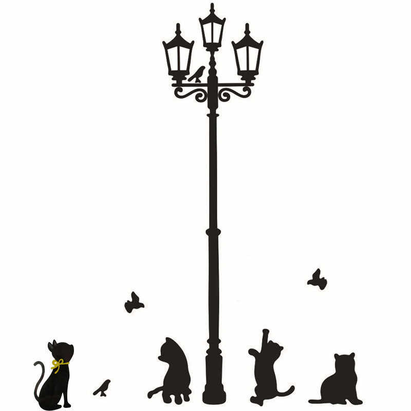 Cats Street Lamp Lights Stickers For Wall Decal Removable PVC Wallpaper for living room Art Vinyl Decor 33cm*60cm Wall Stickers