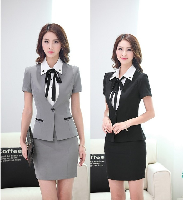 New 2015 Summer Uniform Style Women Business Suits With Blazer And Skirt Office Ladies Beautician Uniforms Clothing Blazers Set