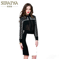 Runway Women Blouses Luxury Beading Sexy Perspective Black 2018 Summer Fashion Shirt Female Blusas Office Lady Top High Quality