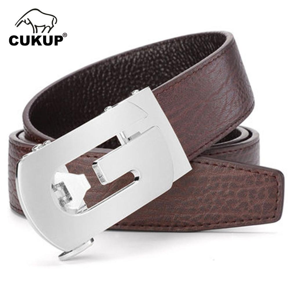 CUKUP Designer Luxury Fashion Accessories Quality Genuine Leather Belts Letter Automatic Buckle Male Waistbands Belt Men ZDCK147