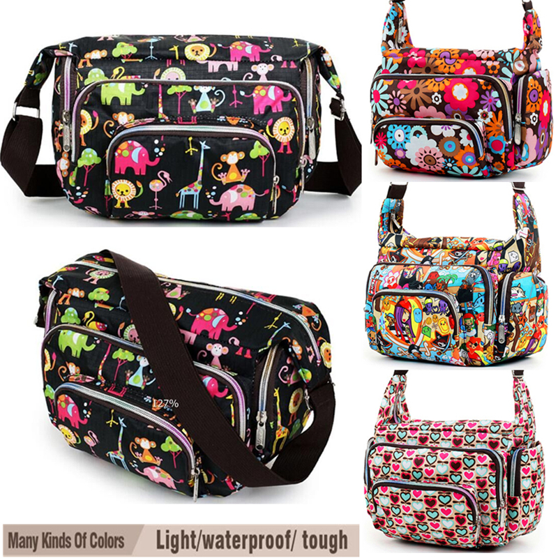 Wanita Messenger Bags Cetak Floral Cross Body Shoulder Canvas Hobo Bag Nylon Oxford Fabrik Wanita Handbag Bolsas Femininas Cute