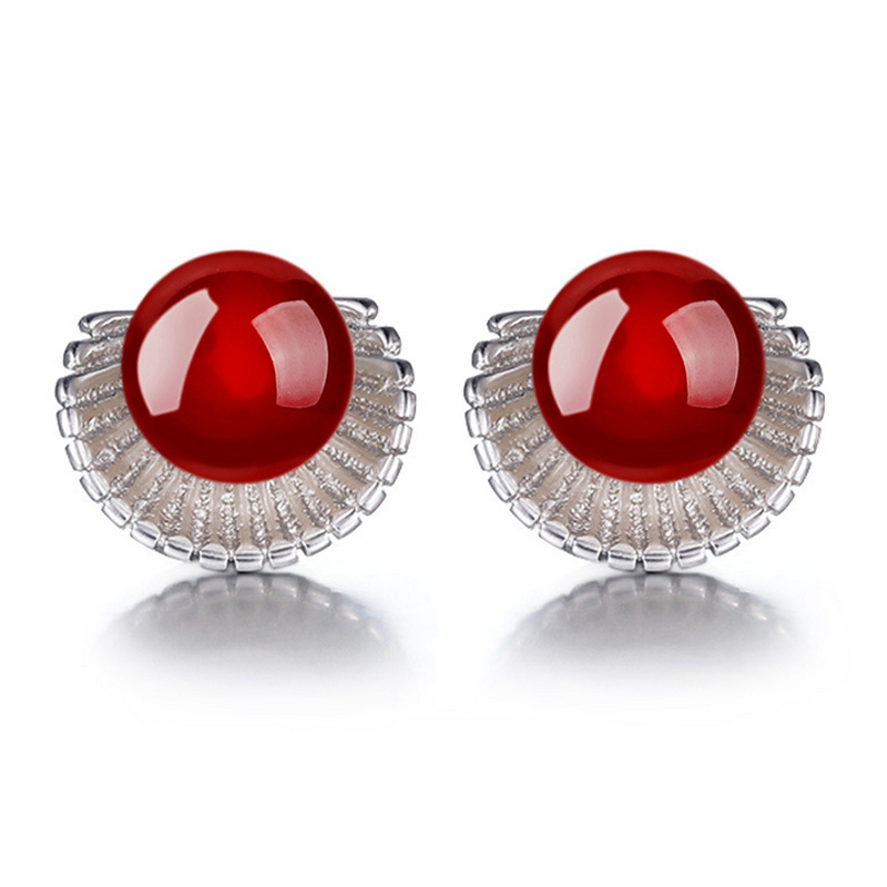 Silver Plated Plated Natural Bead Black/Red Conch Shaped Ear Stud Earrings Ear Ring Pendant Fashion Jewelry Wholesale E36