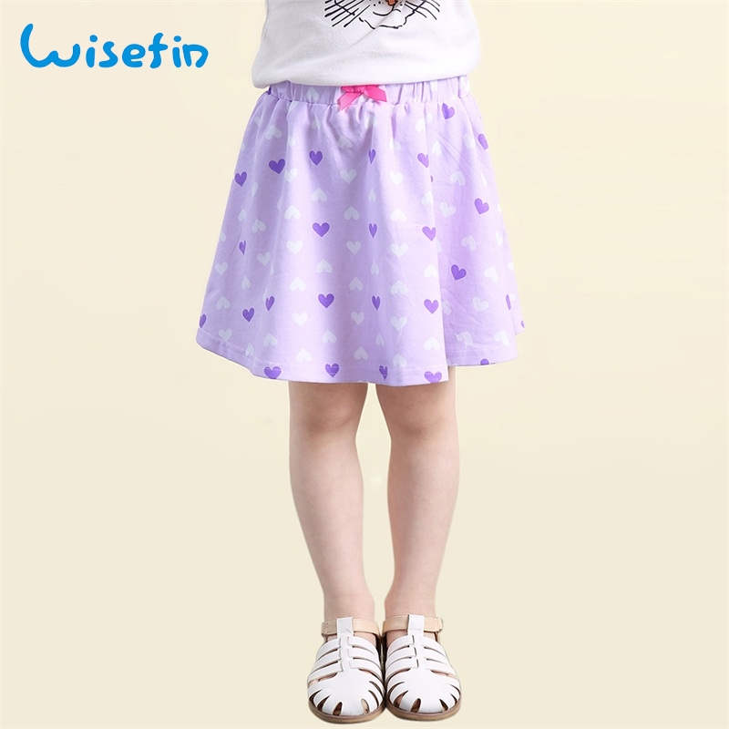 цена на Wisefin 2018 New Summer Girl Short Skirt Purple Love Pink Bow A Line Knee Lenght Baby Skirt Cotton Outdoor Short Skirts