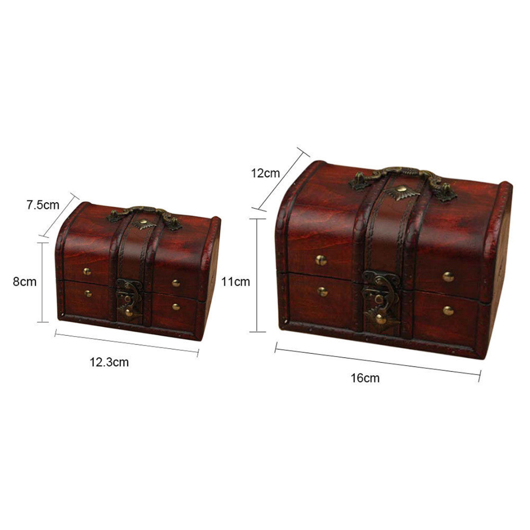 2Pcs Vintage Jewelry Box Organizer Storage Case Mini Wood Container Handmade Metal Lock Small Boxes For Home Decor Holder Tool