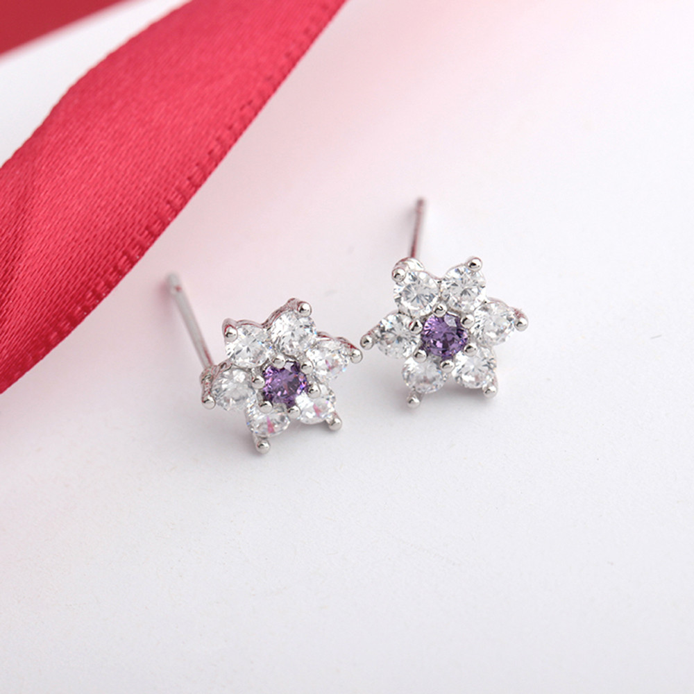 Professional Plum Blossom Design Earrings Double Side Earring Flowers Leaves Crystal Ornaments Earrings Jewelry Accessories
