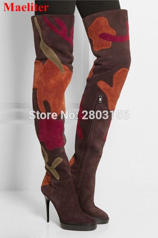 Unique design multi-color patchwork women over the knee boots stiletto heels platform shoes thigh high long boots enmayla stiletto heels over the knee boots women high heels platform thigh high long boots shoes woman black white brown size 46