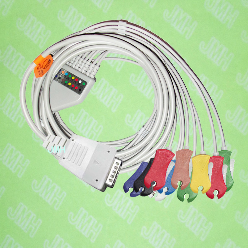 Compatible with ShangHai Kohden 6511,6504,6353, 8110P EKG Machine,One-piece ECG cable and leadwires,15PIN,clip,IEC or AHA. br 903p nihon kohden 3 lead leadwires ecg cable with ce and iso 13485 certificates