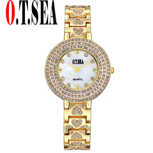 Luxury O.T.SEA Brand Heart Bracelet Watches Women Ladies Shining Crystal Dress Quartz Wristwatches Relogio Feminino 2102