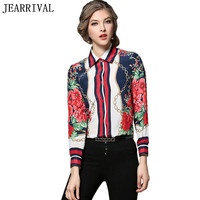 Runway Style Blouse 2017 New Fashion Long Sleeve Turn Down Collar Vintage Flower Floral Print Shirt
