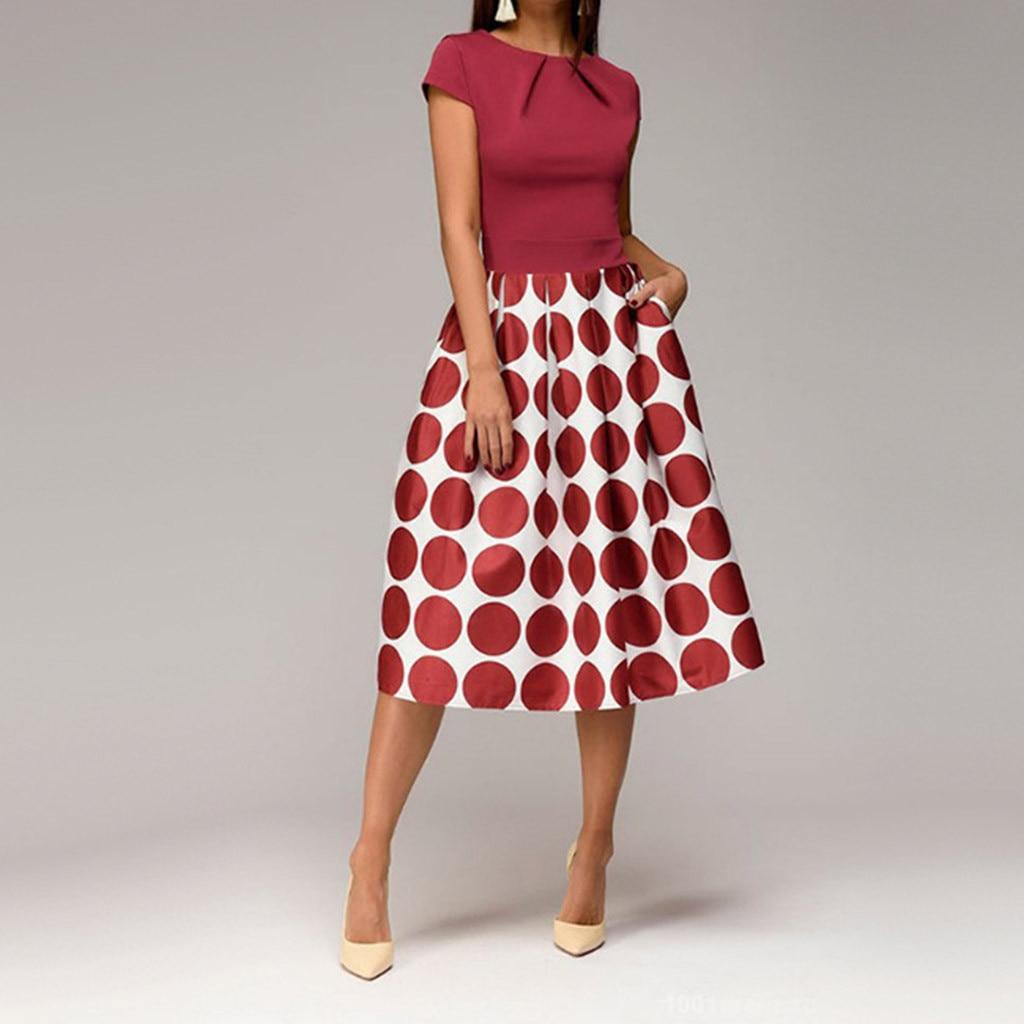 Une ligne femmes Robe élégante vague Robe Femme Point poche ceintures genou longueur épissure tenue décontractée imprimer Vestidos De Fiesta
