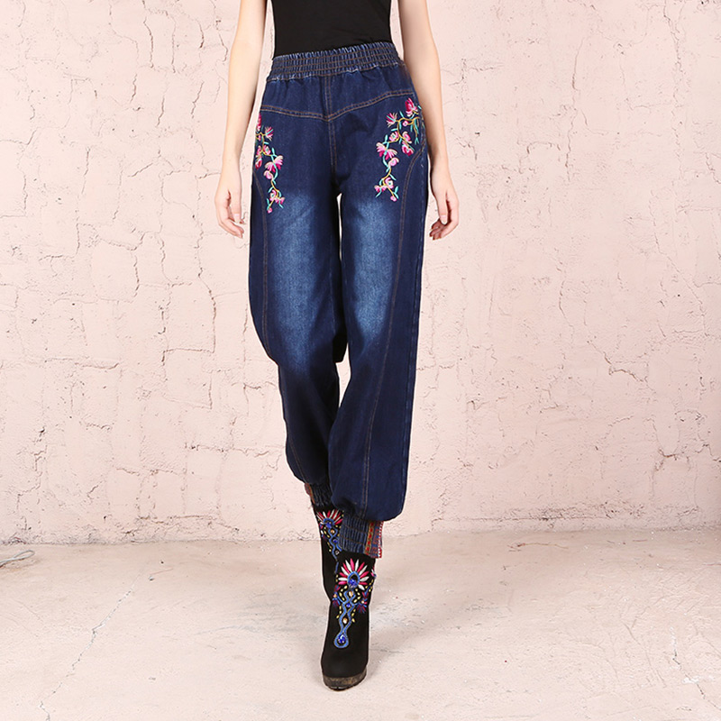 Free Shipping 2018 New Vintage Long Pants For Women Embroidery Flower Trousers Plus Size M-XL Denim Jeans Elastic Waist Casual
