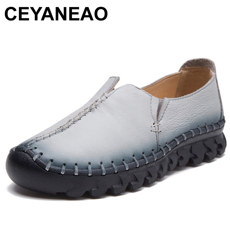 CEYANEAO Handmade Shoes Woman Flat Shoes Soft Genuine Leather Slip On Flats Loafers Women Casual Shoes Moccasins Chaussure Femme