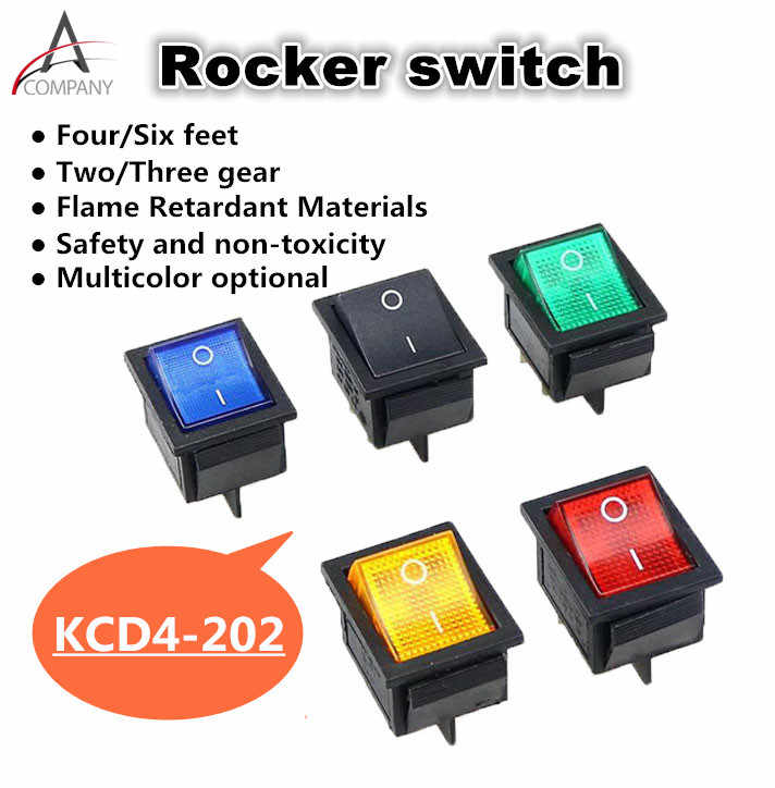 1 Pcs KCD4-202 Perahu Rocker Switch Power Switch 4 Kaki dengan Cahaya 31X25 Mm 20A 125VAC 16A 250VAC