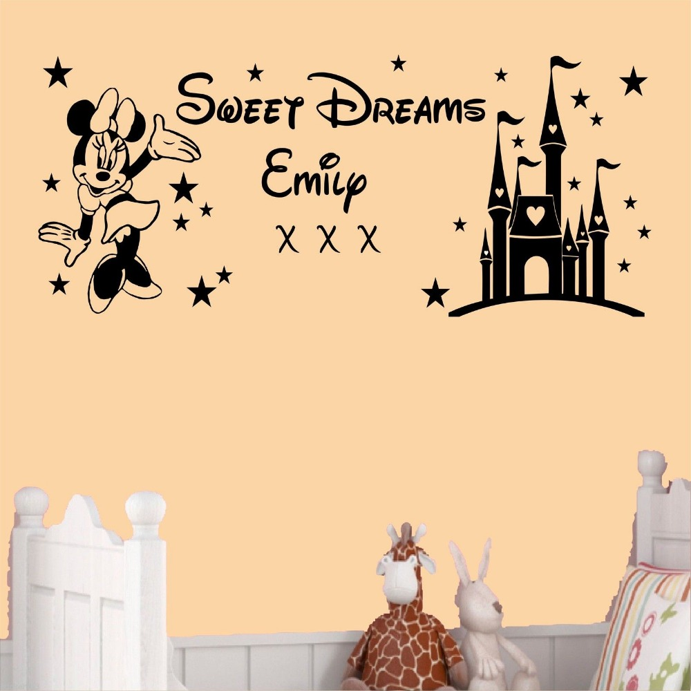 Free Shipping Custom Name Kids Decal Sweet Dreams Princess Castle - Minnie mouse wall decals