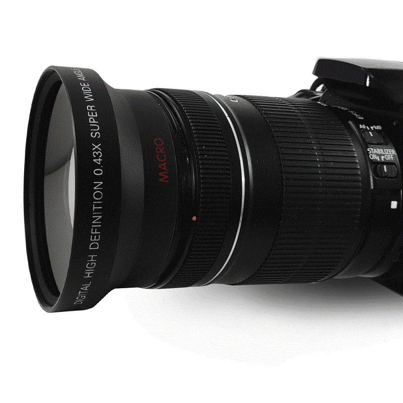 Objectif grand Angle 67mm 0.43X + objectif Macro pour objectif Canon 18-135mm pour objectif Nikon 18-105mm