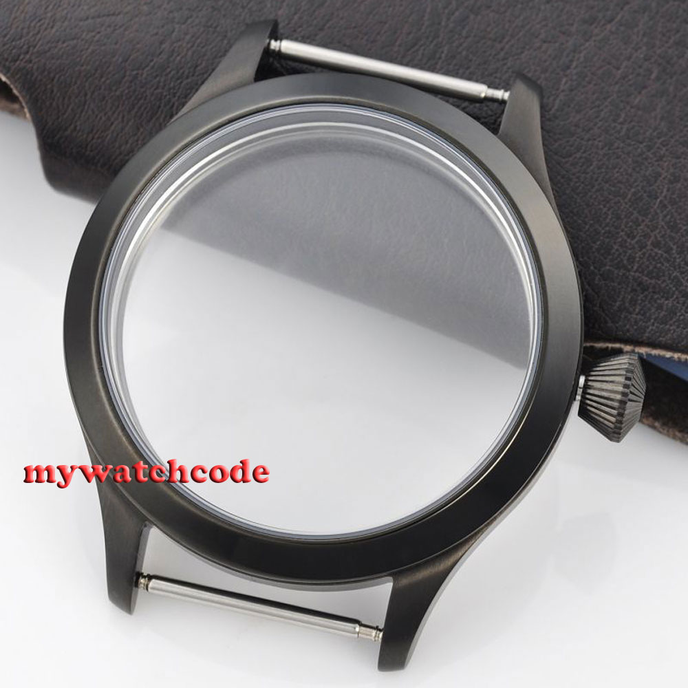 45mm PVD Watch CASE sapphire glass fit Hand Winding 6498 6497 eat movement C32 все цены