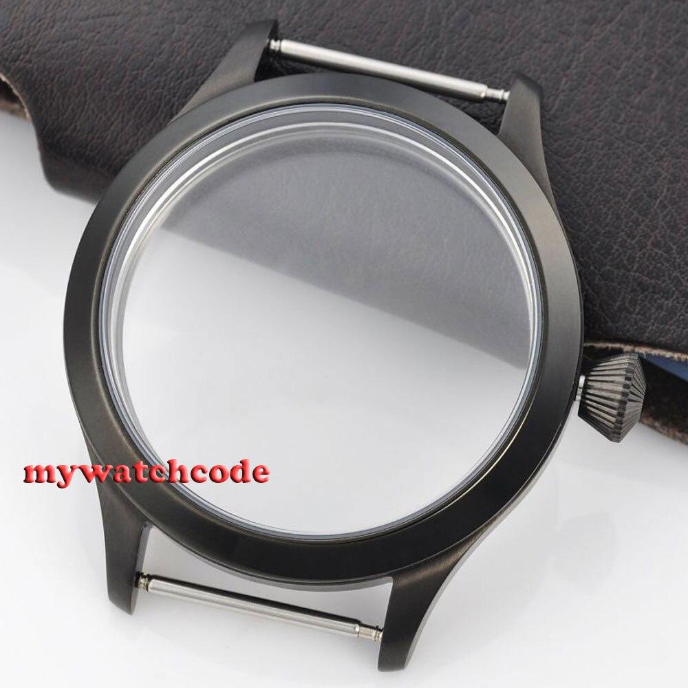 45mm PVD Watch CASE sapphire glass fit Hand Winding 6498 6497 eat movement C32 цена и фото