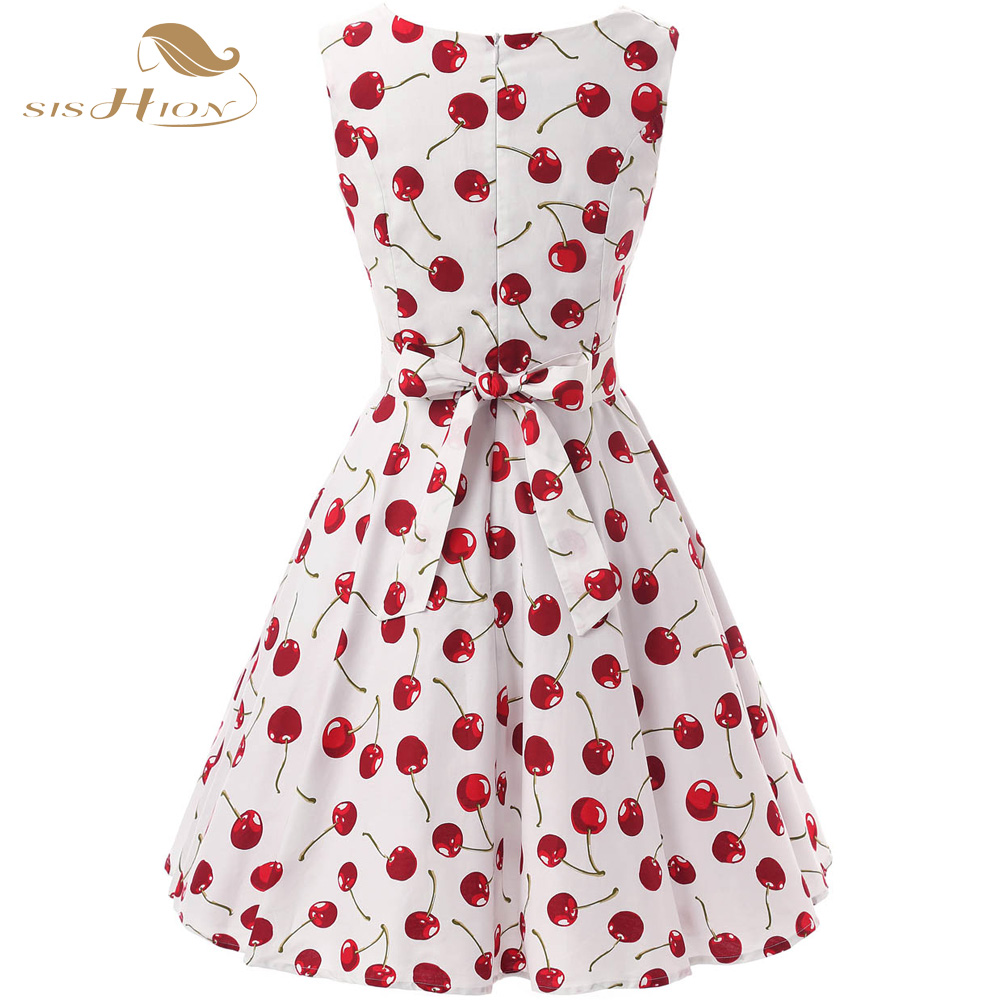 d096051822cd3 SISHION 50s 60s Retro Vintage Dress Plus Size Swing Rockabilly Casual  Cherry Pattern Floral Print Women Summer Dress VD0136-in Dresses from Women's  Clothing ...