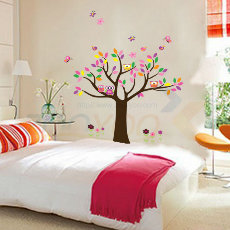 beautiful colorfull tree for home decor wall decal zooyoo5084 decorative adesivo de parede removable pvc wall sticker