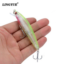 LINGYUE 8.5cm/7.5g Fishing Lures High Quality Minnow Wobblers Fishing Tackle 5 Colors Lifelike Plastic Fake Fish Bait Wholesale